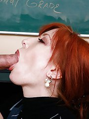 Lustful redhead teacher gets her pussy licked and boned-up by her student