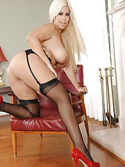 Tempting latina blonde in stockings slowly uncovering her gorgeous curves