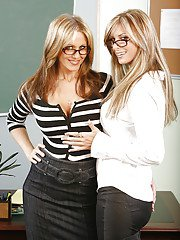 Dirty-minded teachers in glasses have some stripping and humping fun