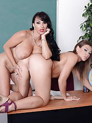 Lewd teacher has some lesbian humping fun with her nasty student