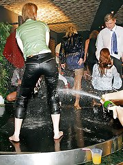 European sluts getting wet and dirty at the fully clothed sex party