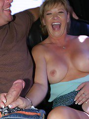 Chippy picked up MILF gives a blowjob with ball licking on the back seat
