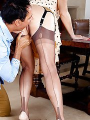 Lewd mature blonde in stockings has some ass licking fun with a naughty lad