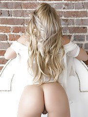 Foxy blonde sugar with neat fanny getting rid of her lacy white lingerie