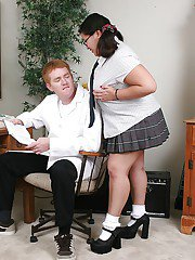 Fatty asian slut in school uniform toying her twat and giving head