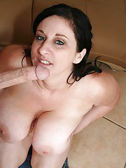 Lustful MILF milking a huge boner with her mouth and massive tatas