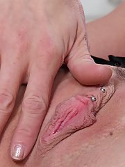 Frisky mature lady with tiny tits undressing and exposing her pierced slit