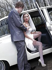 Juggy bride gives head and gets her holes drilled tough outdoor
