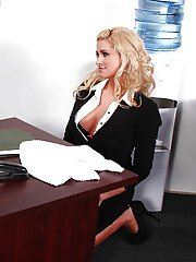 Stunning secretary with round jugs gets screwed tough by her hung boss