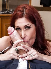 Mature slut gives a blowjob with ball licking and gets anally crashed