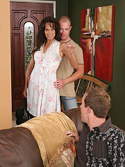 Jizz-starving MILF gets her hunger satisfied after a fervent FMM groupsex