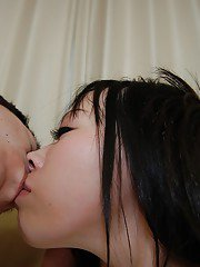 Lecherous asian teen gives a sloppy hand and blowjob in the bathroom