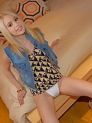Smiley latina blondie with slim body undressing and playing with herself