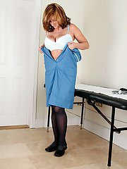 Lusty mature nurse in pantyhose undressing and exposing her hairy twat