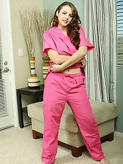 Steamy nurse with flawless big bosoms getting rid of her uniform and lingerie
