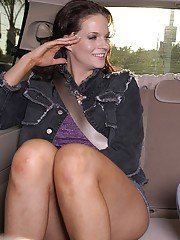 Liberated brunette MILF gets tricked into blowjob on the back seat