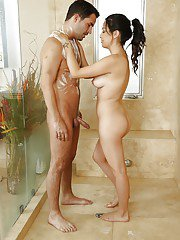 Skillful latina masseuse gives some soapy treatment turning into blowjob