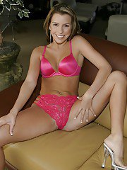 Smiley babe with taking off her pink lingerie and spreading her sexy legs