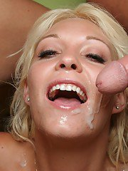 Slutty MILF gets her face and big tits glazed with jizz after FMM groupsex