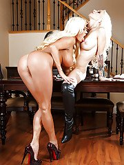 Steaming hot blonde ladies have some stripping and lesbian humping fun