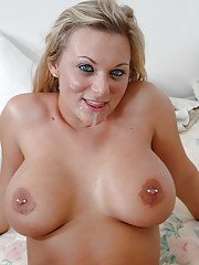 Top-heavy blonde with pierced nipples gets screwed for cum on her smiley face