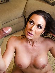 Lustful cougar fucks a younger guy and takes cum on her chin and jugs