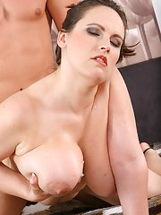 Chubby MILF gives a nooky and gets shagged for jizz on her massive jugs