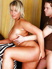 Fatty blondie with big ample ass gets her twat shafted hardcore