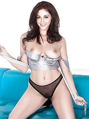 Desirable brunette with amazingly sexy body getting rid of her lingerie