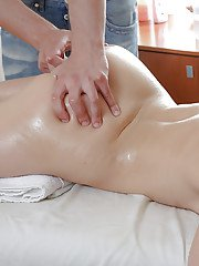 Oiled up redhead sweetie gets rubbed and slammed by a hung masseur