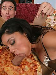 Stunning latina cougar has a fervent foursome with hung pizza-guys