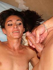Slim mature lassie blows and fucks a pierced dick for jizz on her face