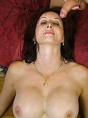 Juggy MILF  has some anal fun with two dicks for her face glazed with jizz