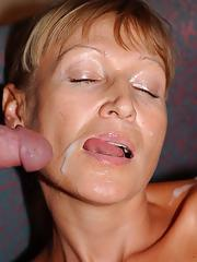 Well-toned mature slut with tanned skin gets nailed tough and facialized