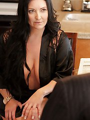 Tattooed mature vixen gives a titjob and gets nailed for jizz on her melons