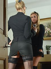Tough teacher in glasses punishes her nasty female student by ass spanking