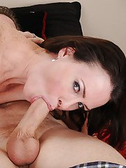 Sensuous MILF with hairy twat gives a proper blowjob and gets shagged tough