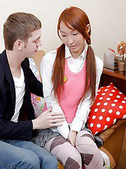Skinny redhead teenie with ponytails gets her tight love holes drilled hard