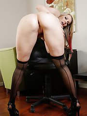 Steamy MILF with pierced slit undressing and exposing her goods in the office