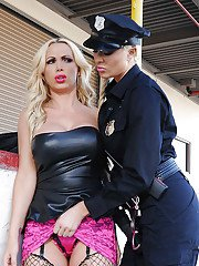 Gorgeous police officer involves a stunning MILF into hard lesbian sex