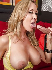Well-toned blonde MILF with big tits blows and fucks a big meaty pole