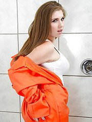 Nasty chick gets rid of her clothes and exposing her curvy body in the bath