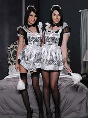 Perky brunette maids in stockings uncovering their hot curves