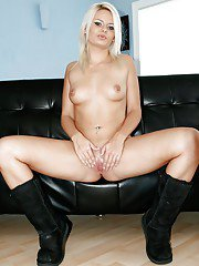 Lusty blonde in uggs and jeans shorts undressing and spreading her legs