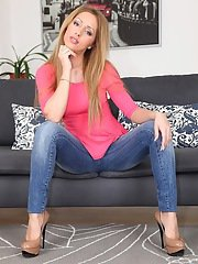 Busty european hottie in jeans undressing and showcasing her pink cunt
