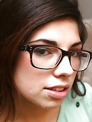 Loveable amateur bookworm in glasses gets fucked and facialized