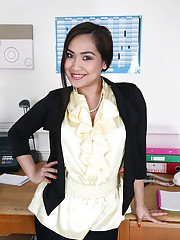 Lecherous latina babe undressing and teasing her cunt on her office desk