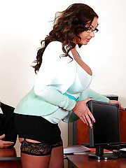 Lecherous top-heavy MILFs have a threesome with their horny office mate
