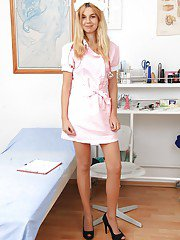 Sassy gyno nurse taking off her panties and fingering her pink hole