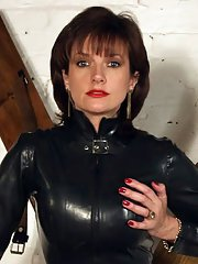 Sexy mature fetish lady posing in provocative latex dress